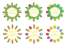Easter label with eggs and carrots. Set of stickers, pins, patches in cartoon comic style. Royalty Free Stock Photography