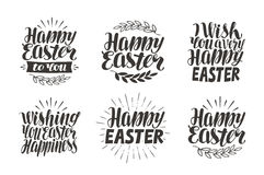 Easter label, greeting card. Celebration icons set, symbols. Lettering, calligraphy vector illustration royalty free illustration