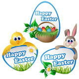 Easter label set with cartoon characters Royalty Free Stock Photo