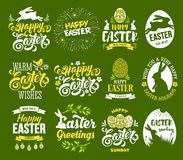 Easter label set. Happy Easter set. Stylized, plain and bicolour labels with bunny, painted eggs, calligraphy and lettering. Isolated on green background. Easy Royalty Free Stock Image