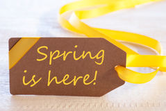 Easter Label, Text Spring Is Here Royalty Free Stock Photos