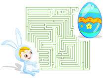 Easter labyrinth. Maze theme for Easter. includes clipping path for select, and one with solution Royalty Free Stock Images