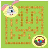 Easter labyrinth. Board game design. Help the Easter bunny to find a way through the flower maze at the meadow to a basket full of colorful eggs Stock Photo
