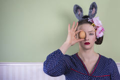 Easter lady with egg Royalty Free Stock Photography