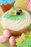 Easter ladybug cupcake Stock Image
