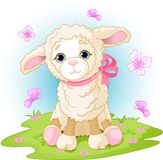 Easter lamb. Spring background with Easter lamb and flowers