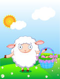 Easter lamb. Cute lamb holding Easter basket in the field with blue sky and sun background Royalty Free Stock Photography