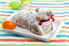 Easter lamb cake with powdered sugar and deco Stock Photos