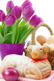 Easter lamb cake and purple tulips. Isolated on white background Stock Photography