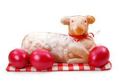 Easter lamb cake with red eggs Stock Image