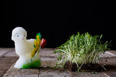 Easter lamb, cress and palm tree stock image