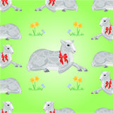 Easter lamb and daffodil seamless texture vector Stock Photos