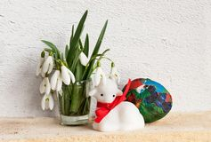 Easter lamb with flowers and egg Royalty Free Stock Image