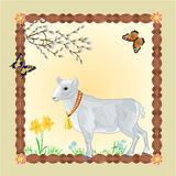 Easter Lamb frame place for text vector Royalty Free Stock Photography
