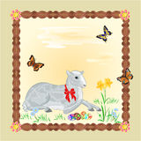 Easter Lamb frame vector Royalty Free Stock Image