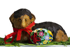 Easter lamb. On grass with quilling egg colored paper Stock Photography