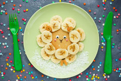Free Easter Lamb Pancakes With Banana , Creative Idea For Kids Easter Royalty Free Stock Photo - 87873305