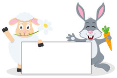 Easter Lamb & Rabbit with Blank Banner Stock Images