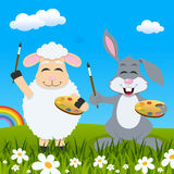 Easter Lamb & Rabbit Painters & Rainbow Royalty Free Stock Photography