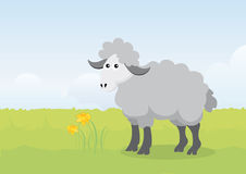 Easter lamb on a spring illustration. Beautiful Easter illustration. Vector illustration of Easter. Happy Easter illustration. Spring Easter landscape. Vector Stock Photo