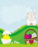 Easter landscape with eggs, flowers, butterflies and church Stock Photo