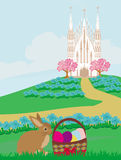 Easter landscape with eggs and sweet bunny Royalty Free Stock Photo