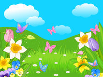 Easter Landscape. Illustration of Easter landscape and flowers vector illustration