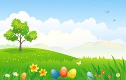 Easter landscape. Illustration of an Easter scenic Stock Images