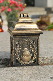 Easter lantern. Lantern with Easter carving on the cemetery Royalty Free Stock Photo