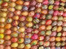 Easter. A large number of Easter eggs with different patterns ornaments Stock Images