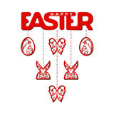 Easter laser cutting. Laser cut template for Easter invitation, congratulation or greeting cards. The word `Easter`, eggs, butterfly, cross and rabbits  with a Royalty Free Stock Images