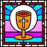 Easter Last Supper. Illustration of a part of a stained glass window with the Chalice of the Last Supper. Useful also as Easter greeting card. You can find other vector illustration