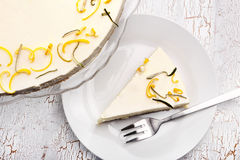 Easter lemon cake on a white wooden background Royalty Free Stock Photo