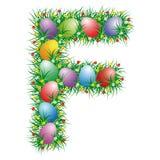 Easter letter F. Easter letter with eggs hidden in the grass vector illustration
