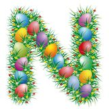 Easter letter N. Easter letter with eggs hidden in the grass royalty free illustration