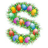 Easter letter - S. Easter text with eggs hidden in the grass royalty free illustration