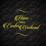 Easter lettering and greetings message over black background. Elegant easter wish card. Yellow lettering over a square shaped dark background. Vector image Stock Photography