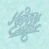 Easter lettering pattern blue Stock Images