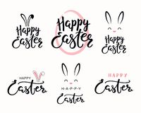 Easter lettering quotes set. Set of hand written calligraphic lettering quotes Happy Easter, with egg outline, bunny face. Isolated objects on white background stock illustration