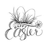 Easter Lettering and Two Eggs with Grass, Camomile Flower. Black and White Hand Drawn Isolated Illustration. Stock Photos