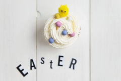Easter Letters and Cupcake with Little Chick Royalty Free Stock Image