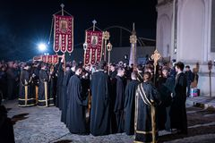 Easter Light procession at Bucharest Patriarchal Cathedral Stock Photo