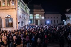 Easter Light procession at Bucharest Patriarchal Cathedral Royalty Free Stock Images