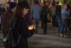 Easter Light procession at Bucharest Patriarchal Cathedral Stock Images