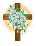 Easter Lilies on Cross Royalty Free Stock Image