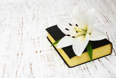 Easter lily and bible. On a old wooden background Royalty Free Stock Images