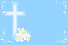 Easter  lily and cross Stock Photos