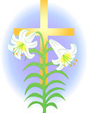 Easter Lily and Cross/eps. Illustration of an easter lily over a golden cross, symbolizing Easter and Christ's resurrection...eps available stock illustration