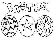 Easter. Line art eastar eggs stock illustration
