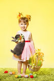 Easter Little Girl, Child Bunny Rabbit And Eggs Royalty Free Stock Photos
